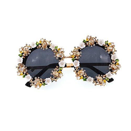 hechas cristal flor Gafas las Elegante de la de a mujeres la para de de la lujo Retro demostración exquisitas de Unisex sol mano barroca Estilo sol la pesca Viajar de del estilo Para Gafas manera de gz6nTH