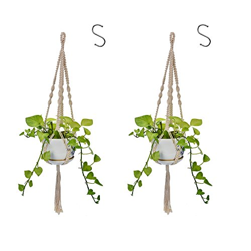 2 Pack Plant Hanger Indoor Outdoor Decorations Hanging Planter Basket Cotton Rope - 32 inches