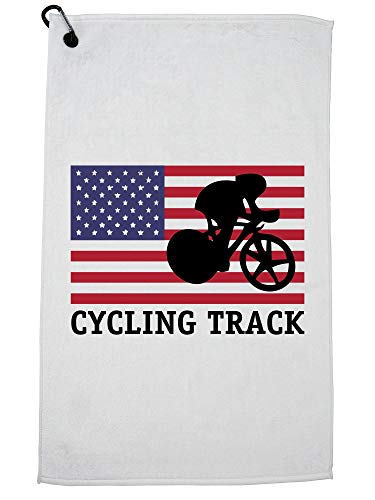 Hollywood Thread USA Olympic - Cycling Track - Vintage Flag - Silhouette Golf Towel Carabiner Clip by Hollywood Thread