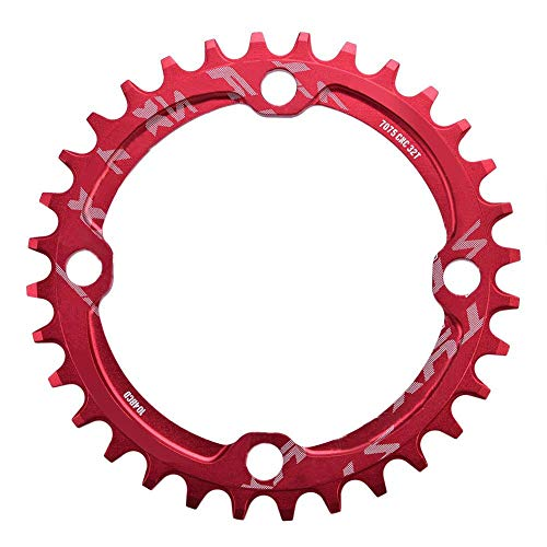 Dioche Bike Chainring, 32/34/36/38T BCD 104 Mountain Bike Single Speed Chainring Suitable for Road Bike Mountain Bike(34T-Red)