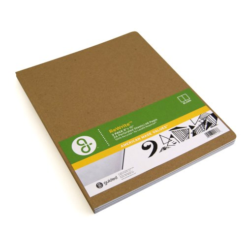 Guided Products ReWrite 8 x 10 Inches, Blank Recycled Notebook, 48 Pages, 3 Pack (GDP00136)