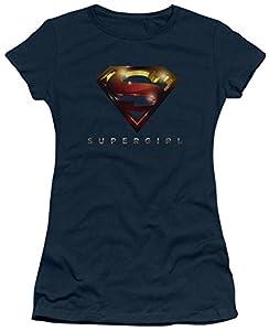 Warner Bros. Women's Supergirl TV Series Logo Glare Navy Juniors T-Shirt XX-Large Navy Blue