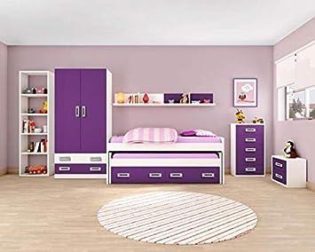 Dormitorio Juvenil Completo, Subida A Domicilio, con Cama Nido y Muebles complementarios, ref-43: Amazon.es: Hogar