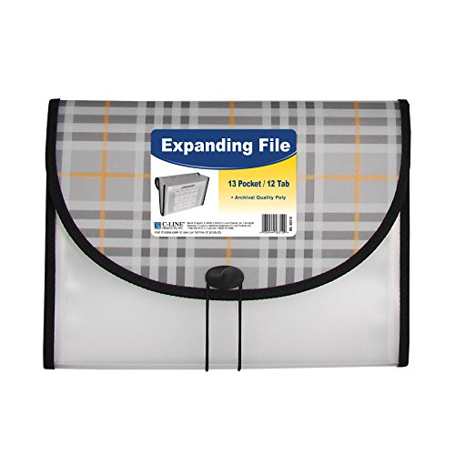 C-Line 13-Pocket Expanding File, Includes Tabs, Letter Size, 1 Expanding File, Plaid Design - Include File