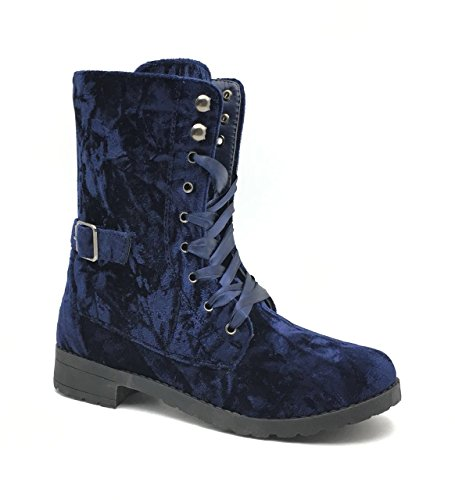 Shelf Angel Velvet Lace up Buckle with Side Zipper, Combat Boots for (Womens Side Buckle)