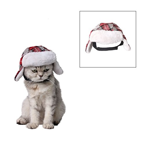 Stock Show Pet Trapper Hat, Christmas Holiday Festival Costume Cat Dog Old-fashion Classic Plaid Hat