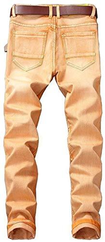 Especial Uomo Jeans Casual Stonewash Colori W42 Estilo orangegelb 6 R Dritto 10 Pantaloni Denim Distrutto Buche Strappato Marea Fit Biker Coscia W29 Slim Cher Classic 7IqB7arzwx