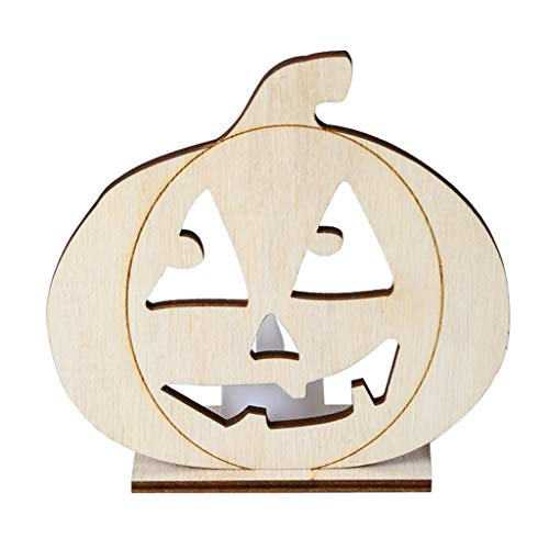 Beioust DIY Wooden Halloween Pumpkin Hollow Pendant Plate Ornament with LED Candy Light Lamp Home Party Decor Supplies -
