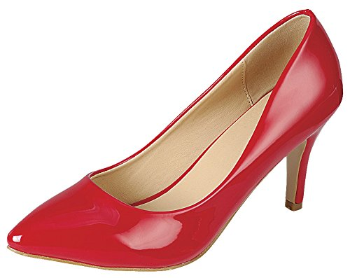 Cambridge Select Women's Classic Closed Pointed Toe Slip-On Stiletto Mid Heel Pump,9 B(M) US,Red Patent - Toe Heels Red Pointed Patent