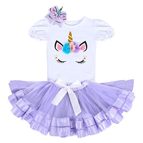 Unicorn Birthday Outfit Rainbow Tutu Dress Baby Girls