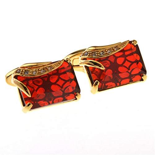 SJJY Black red Square Crystal Cufflinks 2PC Classic Men's French Shirt Decoration Gift Diamond Metal Cufflinks