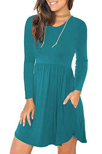 Unbranded* Women's Long Sleeve Loose Plain Dresses Casual Short Dress with Pockets Acid Blue Large