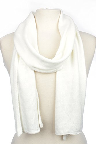AN Unisex Men's or Women's Basic Solid Color Knit Scarf - Ivory Cream White (Wool Scarf White)