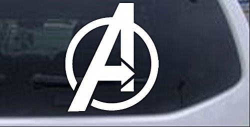 Rad Dezigns Avengers Symbol Logo Sci Fi Car or Truck Window Laptop Decal Sticker - White 6in X -