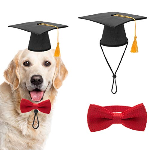 PAWCHIE Dog Graduation Hat with Yellow Tessel and Bow Tie Collar, Pet Grad Cap for Dogs Cats Costume ()