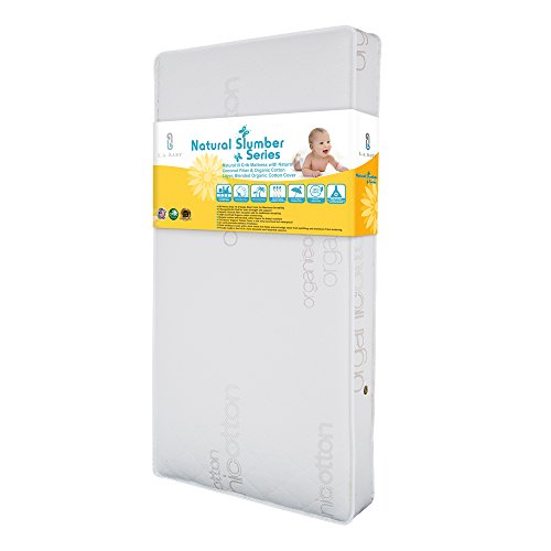 LA Baby Natural III Crib Mattress with Natural Coconut Fiber & Organic Cotton Layer, Blended Organic Cotton Cover
