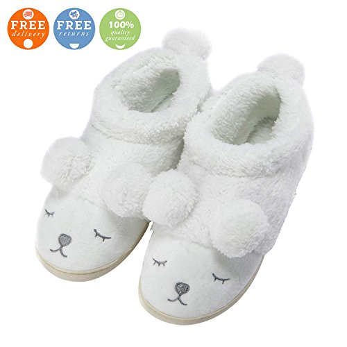 MiYang Warm Indoor Slippers For Women Fleece Plush Bedroom House Shoes Non Slip Winter Boots White(High Top) iuYMRgbh