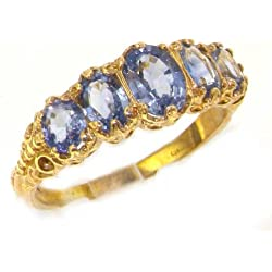 18k Yellow Gold Natural Sapphire Womens Band Ring - Sizes 4 to 12 Available