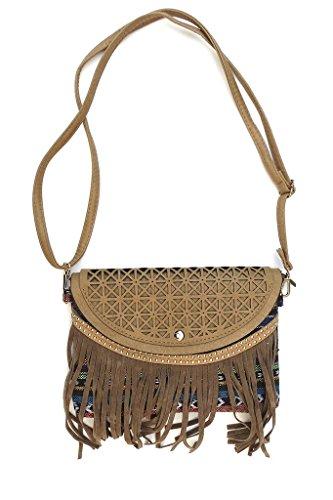 Corona Collection Fringed Crossbody Handbag with Southwest Design Blue