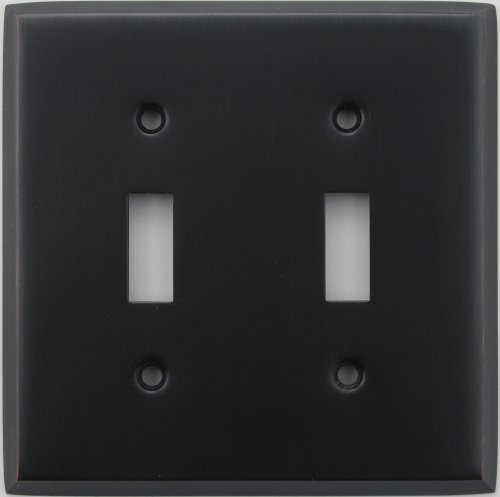Classic Accents Stamped Steel Oil Rubbed Bronze Two Gang Toggle Light Switch Wall Plate
