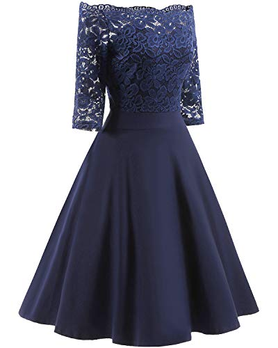 Women#039s Vintage Dresses Lace Floral Boat Neck 3/4 Long Sleeve Swing Dress ALine Cocktail Party Prom