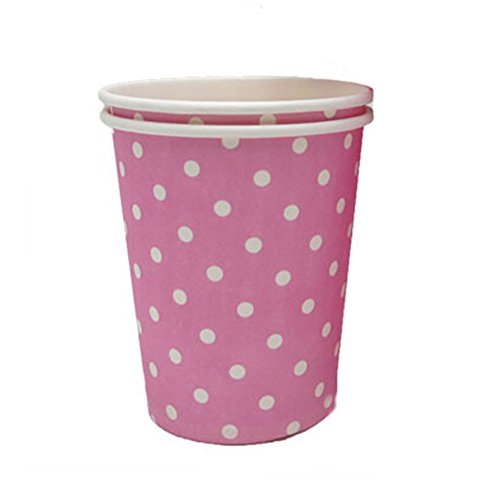 Pink 8.25 oz 50 Count Disposable Paper Cup Coffee Paper Cup White Dots