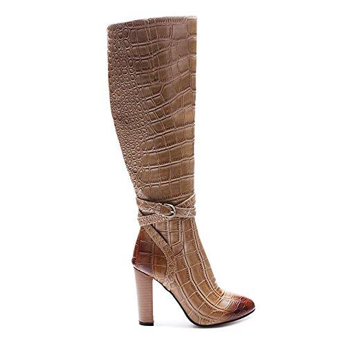 Plus Genou Motif Automne Talon EUR42UK85 Printemps Femmes NVXIE Knight Élevé de Round BROWN Bottes Hiver Rugueux Tête Chaussures Cuisse Crocodile Brown OqFt5