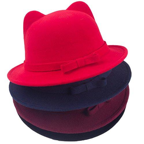 c60276f3 Bigood Women Chic Cat Ear Soft Derby Bowler Hat Jazz Cap Red - Import It All