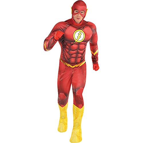 SUIT YOURSELF DC Comics: New 52 The Flash Muscle Costume for Adults, Standard Size, Includes a Padded Jumpsuit and More -
