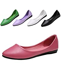 ALSYIQI Women's Classic Pointy Toe Slip On Soft PU Flats Shoes