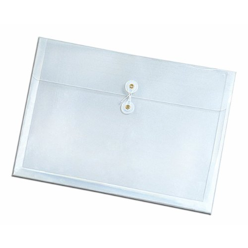 Globe-Weis/Pendaflex Side-Opening Poly Envelopes, Letter Size, String Closure, 1-Inch Expansion, Clear, Box of 12 (84181)