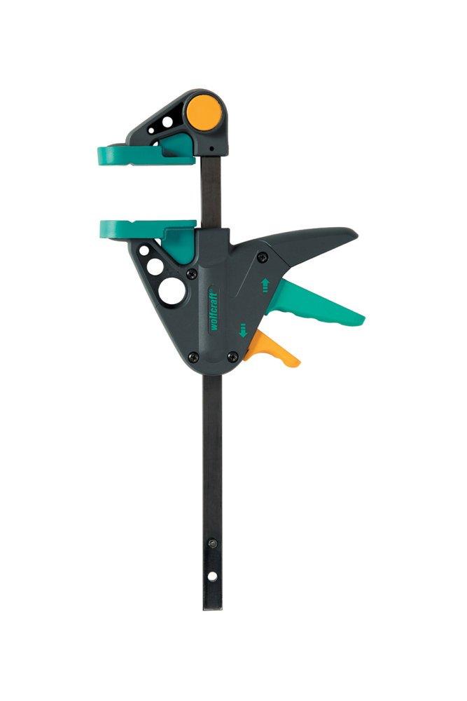 wolfcraft EHZ 65-300 mm Einhandzwinge PRO 3457000 | Kraftvolle Zwinge fü r professionelle Arbeiten zum Spannen von Werkstü cken mit nur einer Hand | Spannkraft: 90 kg - Spannweite: 300 mm