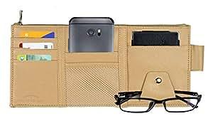 Multi-function Car Sun Visor Space Organizer Storage Hanging Card Phone Holder Beige