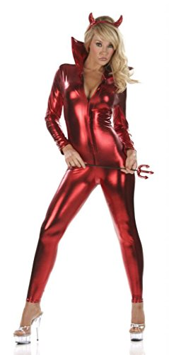 Devil Sexy Costumes Adult Jumpsuit (Nom de Plume, Inc Sexy Stretch Devil Jumpsuit Costume Set Small Red)