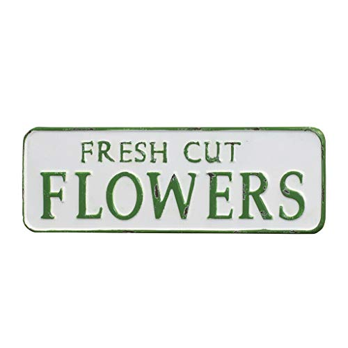 VIPSSCI Fresh Cut Flowers Metal Sign White Decorative Wall Plaque with Green Font Decor