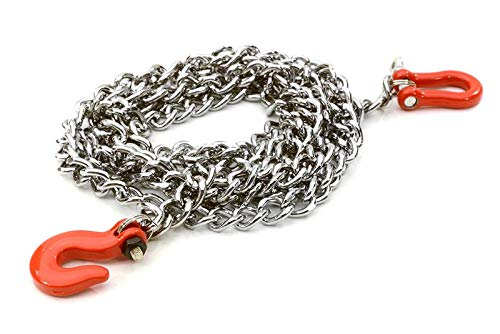 Integy RC Model Hop-ups C26887RED Realistic 1/10 Scale Metal Drag Chain w/Bow Shackle & Tug Hooks for Off-Road