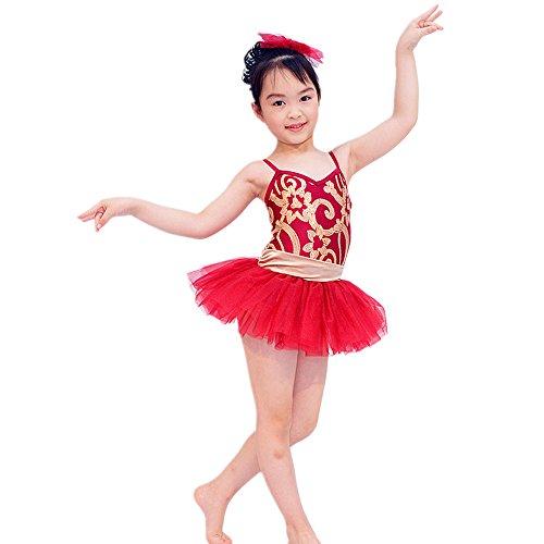 MiDee Ballet Girl Dance Leotard Dress Swan Lake Ballet Costumes For Children (XXSC, Red) (Swan Ballet Costume)