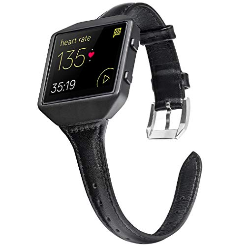 Wearlizer Compatible Fitbit Blaze Band Leather Black Metal Frame Classic Genuine Leather Wristband Accessory Replacement Strap Fit bit Blaze Black
