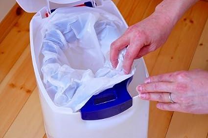 Cubo de basura para pa/ñales color azul y blanco Diaper Champ 04002-01 tama/ño peque/ño