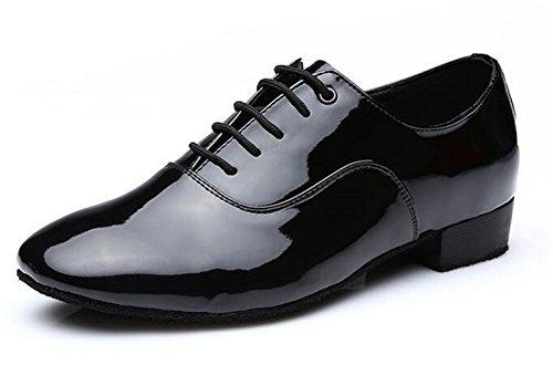 (ピピシダ)PPXID メンズ社交ダンスシューズ ラテン 国際社交ダンス ワルツ 踊りシューズ 皮革 ローカット カジュアル  柔らかい 滑り止め 運動靴 かっこいい ブラック ホワイト エナメル (サイズ:24.5-27.5cm)
