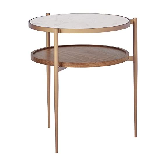 "Rivet Modern White Marble and Wood Double Storage Wood Shelf Side End Table, 21.3""H, White/Brass/Walnut - Marble, wood and brass-finished metal come together to add a touch of glam to this striking modern side table. Display your favorite photos alongside a lamp on the elegant top. The shelf underneath is a handy place to stash your phone and remote. 17.8""W x 19.1""D x 21.3""H; Leg Height: 14.6""H Marble top with fiberboard shelf, both rimmed by metal frame with brass finish - living-room-furniture, living-room, end-tables - 41SfGe0dN L. SS570  -"