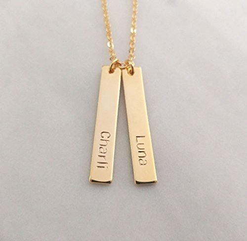Custom Gold Silver Rose Gold Double Nameplate Name Date Necklace, Two Coordinates Letter Vertical Bar Personalized Multi Bar,Bridesmaid (Double Name Necklace)