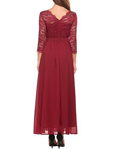 Acevog Women's Floral Lace 2/3 Sleeves Long Formal Evening Dress Maxi Dress (Small, Wine Red)