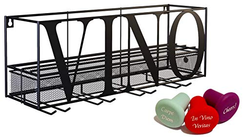 Chevalier Wall Mounted Wine Rack with Glass & Bottle Holder | Wine Storage | Wine Shelf| Comes with 3 Premium Wine Stoppers | Home and Kitchen Decor
