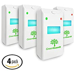 GreenGuardX Ultrasonic Pest Control Repeller (4-Pack)–Indoor Repellent for Mice, Mosquitos, Roaches, Spiders, Insects, & Rodents – Ecofriendly Bug Repeller–Children & Pet Safe, Non-Toxic (Upgraded)