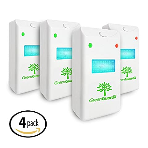 GreenGuardX Ultrasonic Pest Control Repeller (4-Pack)–Indoor Repellant for Mice, Mosquitos, Roaches, Spiders, Insects, & Rodents – Ecofriendly Bug Repeller–Children & Pet Safe, Non-Toxic (Ant Glue Trap)
