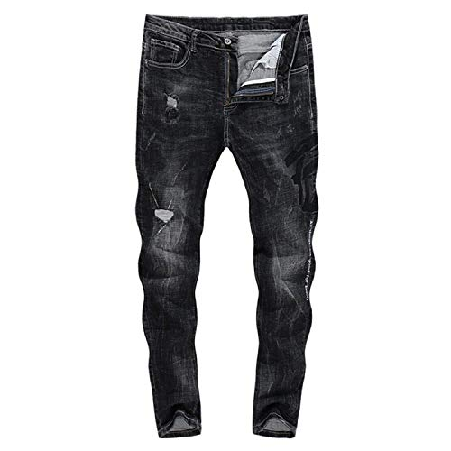 Stretch Battercake Uomo Strappati Da Jeans 2018 Zlh 3121 Thick Comodo Pantaloni Biker A Dritta Neri Gamba HYT5Hq