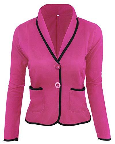 Bicolore Moda Corto Bavero Donna Slim Marca Lunga Manica Suit Rose Fit Blazer Cappotto Outerwear Di Anteriori Mode Tasche Leisure Autunno Business ygvfb6Y7