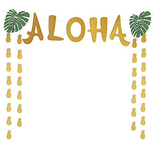 Aloha Craft Company, Aloha Luau Banner - Large Hawaiian Pineapple Gold Glitter Banner For Tropical Beach Party Supplies ()