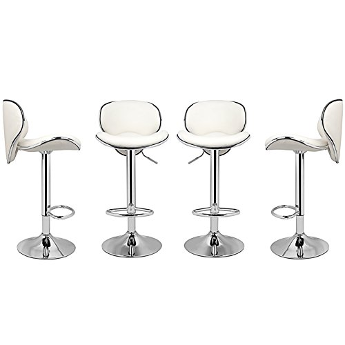 Magshion PU Leather Adjustable Swivel Dinning Counter Bar Stools Chrome Curved Seat Chair Set of 4 White